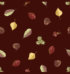 hand drawn seamless pattern with autumn leaves vector image