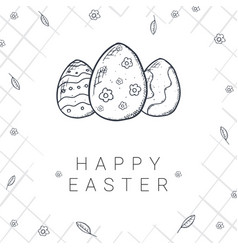 happy easter background with traditional sketches vector image