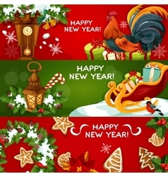 Happy New Year holiday banners vector image