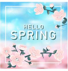 Hello spring pink flower blue background im vector