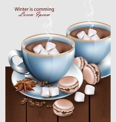 Hot chocolate cups with macaroons and marshmallows vector