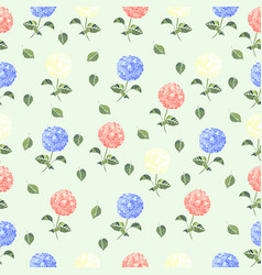 hydrangea flower seamless pattern with vintage vector image