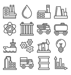 industry icons set on white background line style vector image