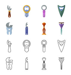 Isolated object equipment and bar icon set of vector