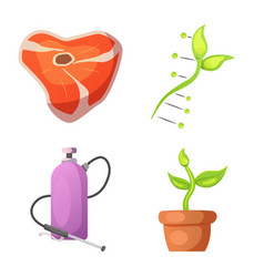 Isolated object of genetic and plant logo set of vector