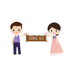 korean bride and groom in traditional wedding vector image
