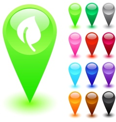 Leaf button vector image
