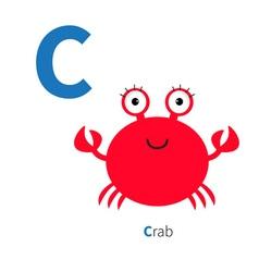 Letter c crab zoo alphabet english abc vector