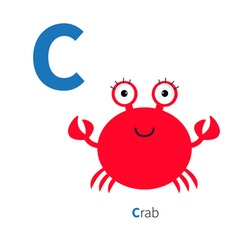 Letter C Crab Zoo alphabet English abc with vector