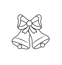 line bells with ribbon bow decoration design vector image