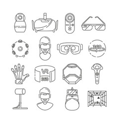 linear symbols of technology virtual reality vector image