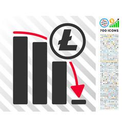 litecoin panic falling chart flat icon with bonus vector image