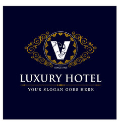 luxury hotel design with logo and typography vector image