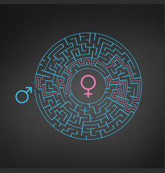 male female symbol and circle labyrinth maze find vector image