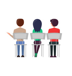 Man woman sitting on chairs discussing back view vector