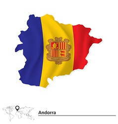 Map of Andorra with flag vector image