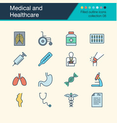 medical and healthcare icons filled outline vector image