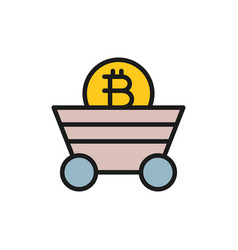 miner trolley with bitcoin coin blockchain vector image