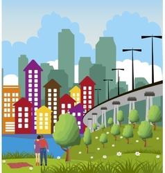 Modern metropolis city vector image