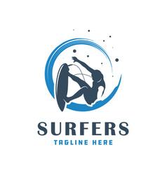 Modern surfing people logo vector