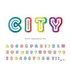 Modern urban font golographic 3d alphabet trendy vector
