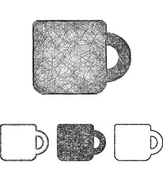 Mug icon set - sketch line art vector image