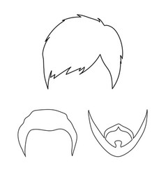 Mustache and beard hairstyles outline icons in vector