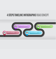 navigation map infographic 4 steps timeline road vector image