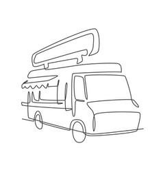 one continuous line drawing vintage food truck vector image