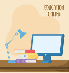 online education computer books and desk lamp vector image
