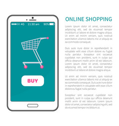 online shopping poster with mobile phone and cart vector image