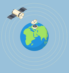 orbit and dish satellite on earth planet vector image
