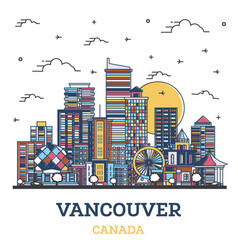 outline vancouver canada city skyline with vector image