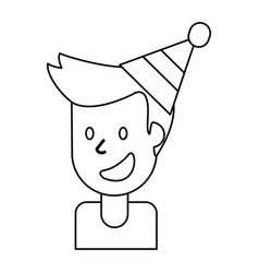outlined portrait man smile vector image