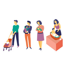 Parenthood and newborn child care mother vector