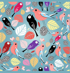 pattern with birds and autumn leaves vector image