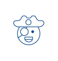 Pirate emoji line icon concept pirate emoji flat vector