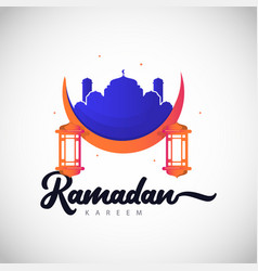 Ramadan kareem full color logo template design vector