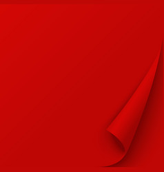 red page with curled corner empty red wrapping vector image