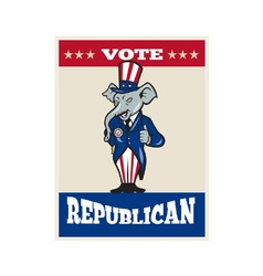 Republican Elephant Mascot Thumbs Up USA Flag vector image
