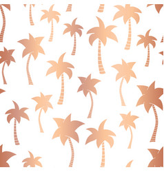 Rose gold foil palm trees seamless pattern vector
