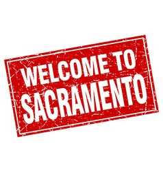 Sacramento red square grunge welcome to stamp vector