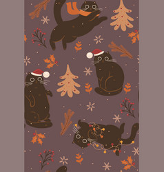 seamless pattern with cute brown christmas cats vector image