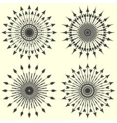 set arrow sunbursts vector image