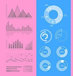 Set graphs and diagrams for infographics vector