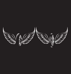 set monochrome patterns - wheel with wings vector image