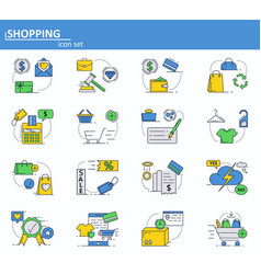 Set of online shopping and digital payments vector