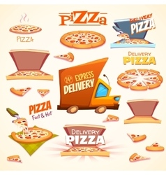 set of Pizza icons labels signs symbols vector image