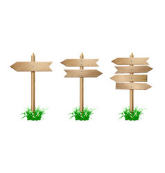 Set of wooden signpost vector