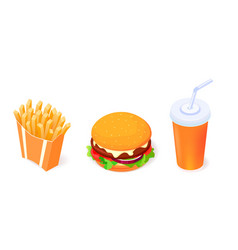 set vetor food objects icons - burger cola and vector image